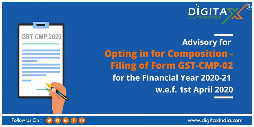 Advisory for Opting in for Composition – Filing of Form GST-CMP-02 for the Financial Year 2020-21 w.e.f. 1st April 2020